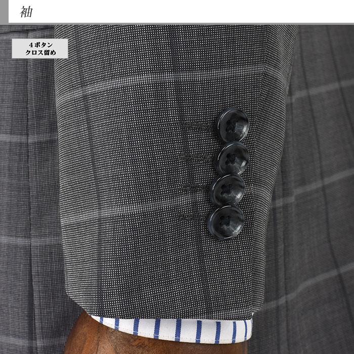 [1M7903-34] メンズジャケット レギュラー ビジネス テーラードジャケット グレー ウィンドペン 格子柄 クールマックス 春夏 クールビズ