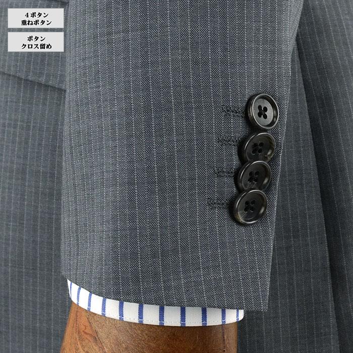 [1QS933-24]スリムスーツ メンズ/メンズスーツ/ スーツ スリム/グレー ストライプ/2ボタンスリムスーツ/ 春夏スーツ/ノータックパンツ/