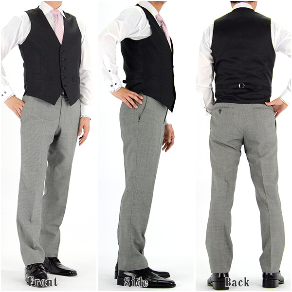 [1IFA33-20] [ネコポス] 【サイズ交換OK・返品不可】通年物 ジレベスト オッド ベスト メンズ 黒 シャドーストライプ 光沢素材 スーツ仕立て ベスト・ジレ(衿なし)