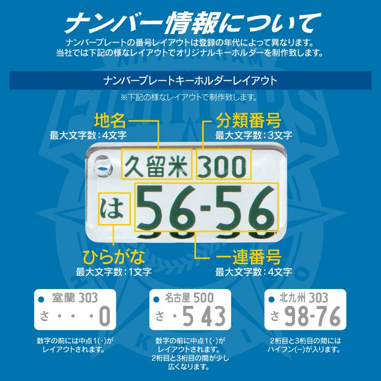 キーホルダー ナンバープレート 北海道日本ハムファイターズ 愛車 アクセサリー かわいい おしゃれ 車 バイク ナンバー スマートキー ストラップ リング 自動車 鍵 オリジナル 作成 名入れ グッズ メンズ レディース 【スマホゴ】