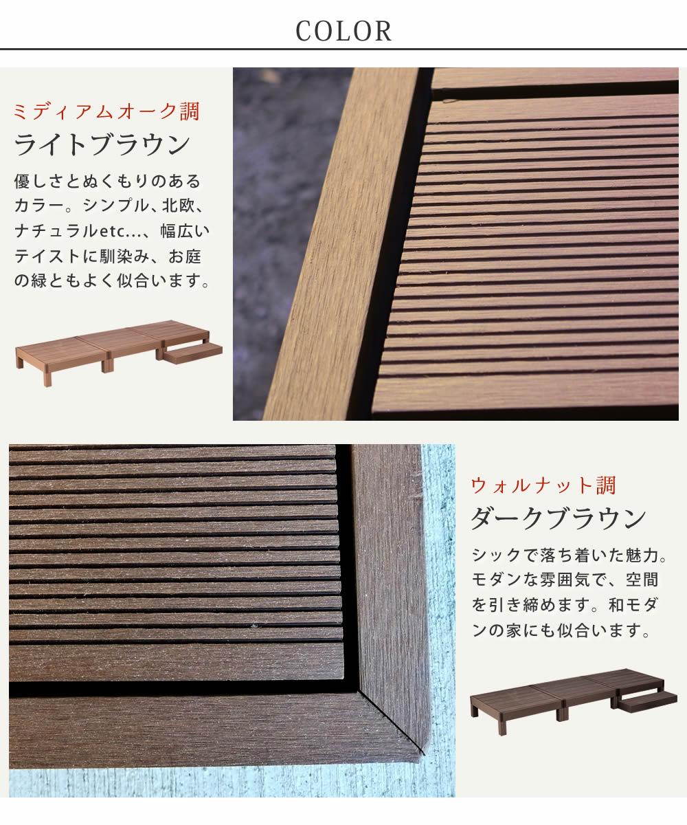 人工木ウッドデッキ ecofeel(エコフィール)3台 ステップセット PWDE-3P-STP