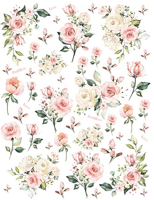 【ガラス用】 水彩 ピンクローズ転写紙 A4サイズ