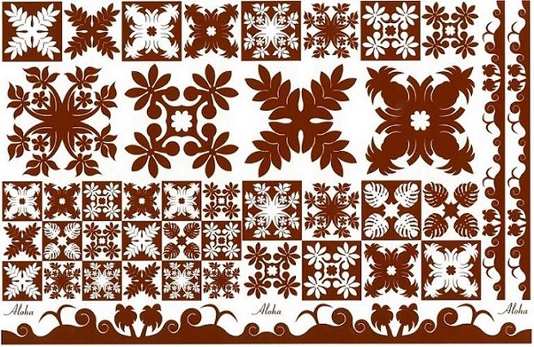 Hawaiian Quilt Collection(ハワイアンキルトコレクション)転写紙 Leaves × ロコブラウン
