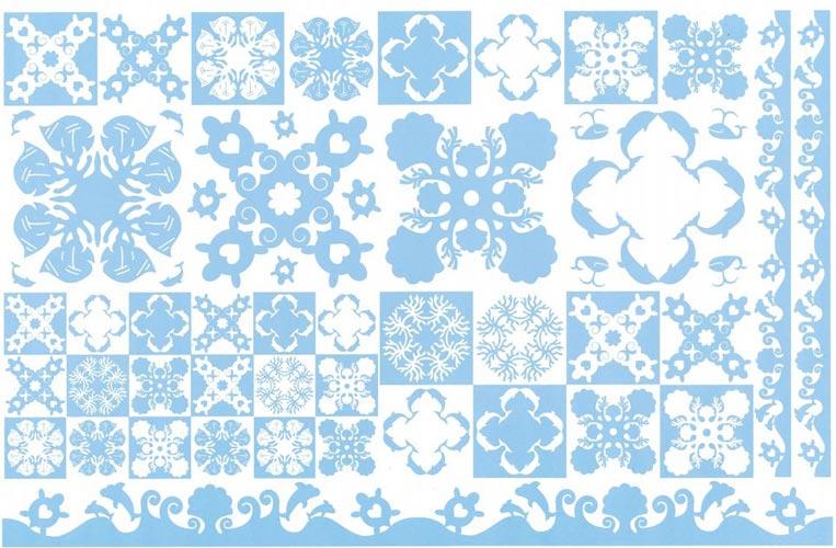Hawaiian Quilt Collection(ハワイアンキルトコレクション)転写紙 Sea × コーラルブルー