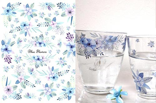【ガラス用】水彩ブルーフラワー