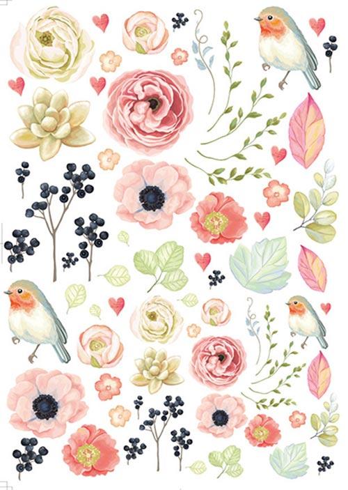 水彩森の小鳥 もりのことり 転写紙