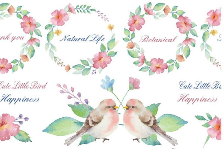 【水彩】ボタニカルフレームと幸せを運ぶ小鳥たち