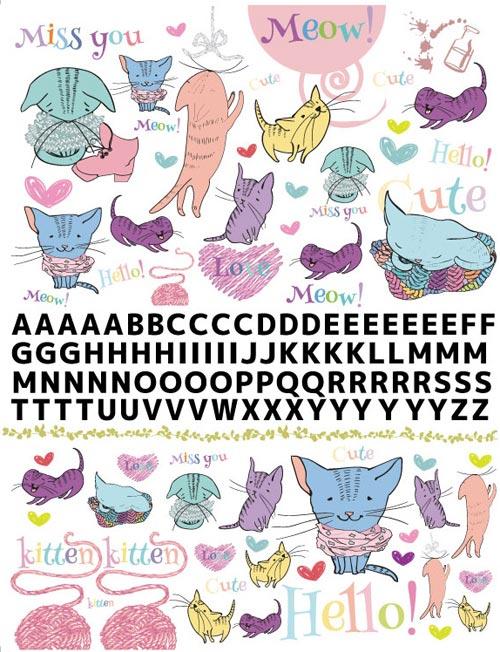 猫 ねこ ネコ転写紙 アルファベット付き A4サイズ