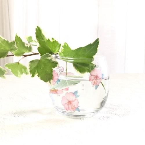 【ガラス用】南国の桜と植物とハイビスカス