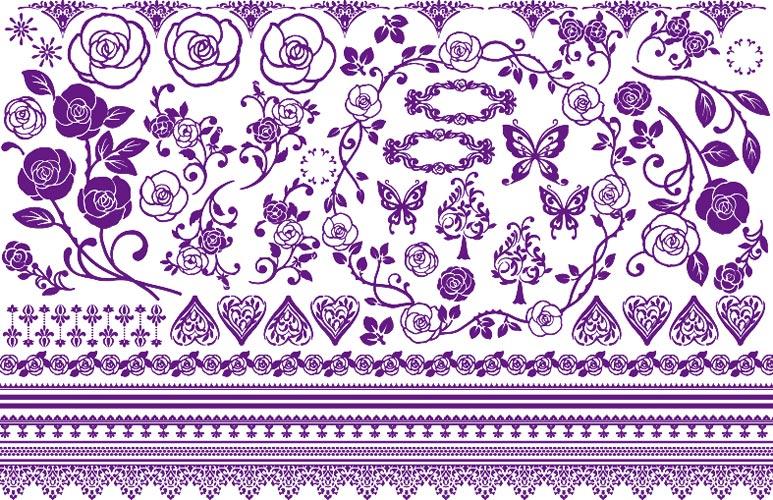 《30%OFF!》 ベルベットローズ転写紙 紫