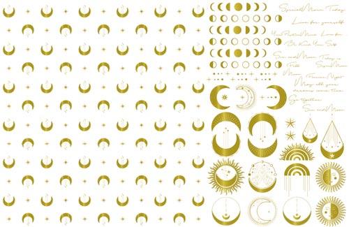 【Moon】ムーン神秘的なお月さまアンティーク-metallic gold-メタリックゴールドA3