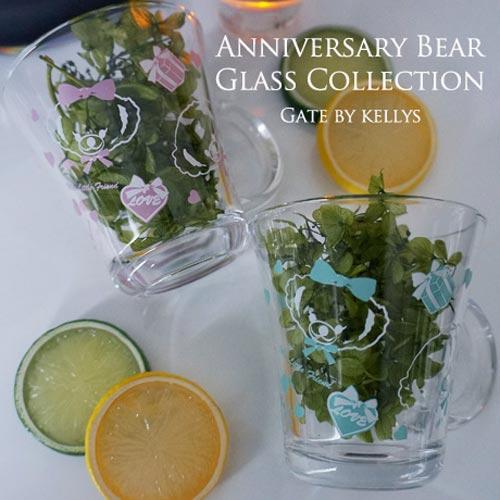 《30%OFF!》【ガラス用】Anniversary Bear パターンタイプ ピンク【SALE期間:9/1〜12/末】