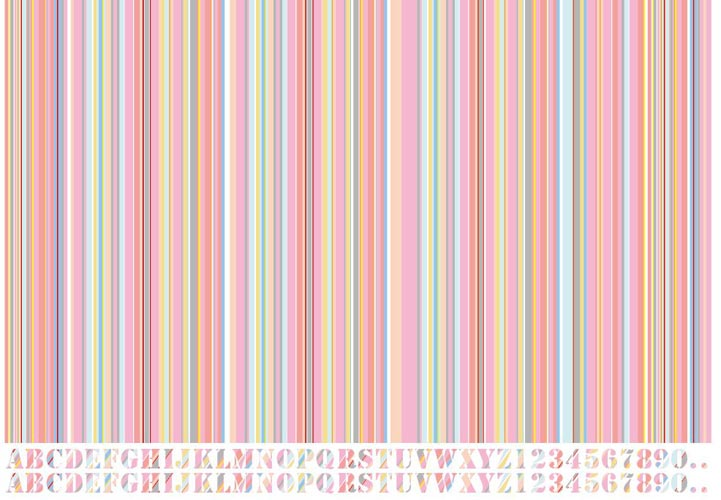 マルチカラーストライプピンク(10色)転写紙
