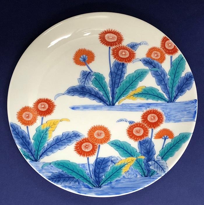 鍋島様式色絵転写紙 蒲公英図18cm皿用