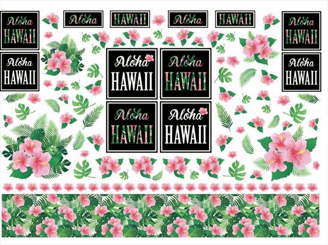 【水彩】ハワイアンロゴとハイビスカスアイテム転写紙