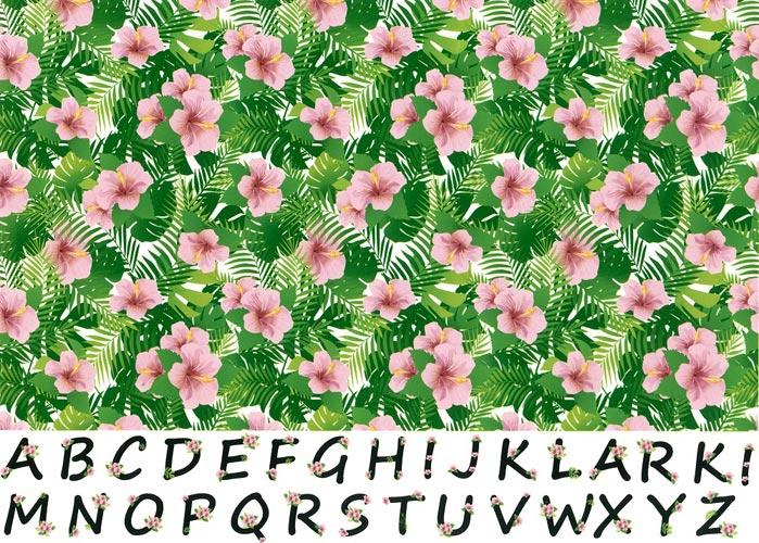 《20%OFF》【水彩】花文字アルファベットとハイビスカス転写紙【SALE期間:8/1〜9/末】