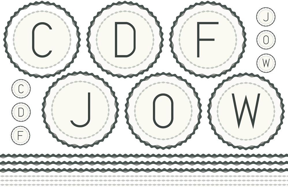 《20%OFF!》 枠付きイニシャル(L)C・D・F・J・O・W 転写紙