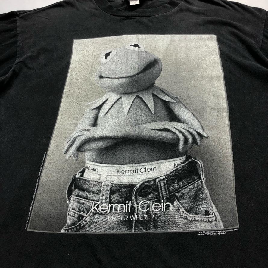 [USED]90s Kermit the frog T-SHIRT Kermit Clein Black