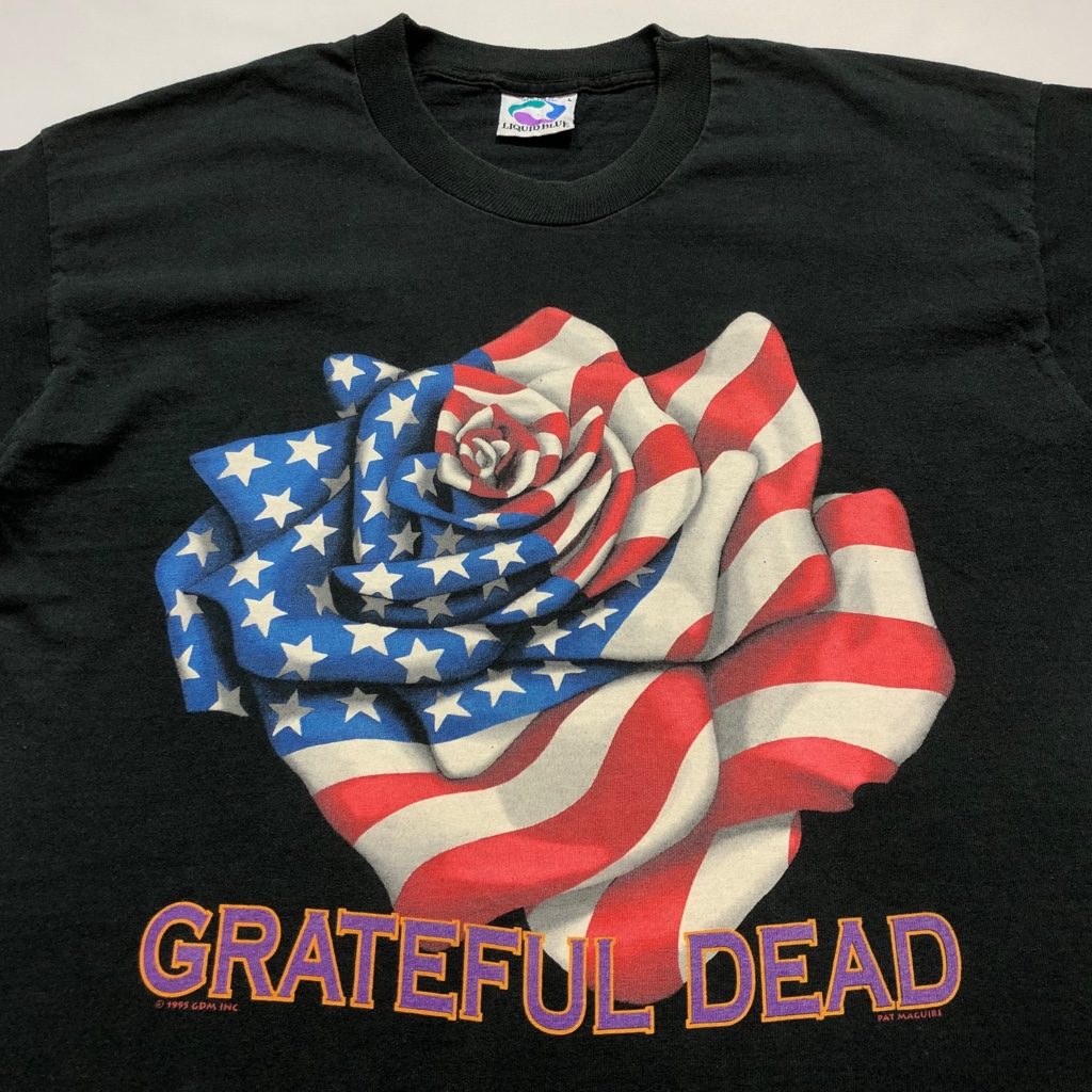 [USED]90s GRATEFUL DEAD T-SHIRT rose of the stars and stripes