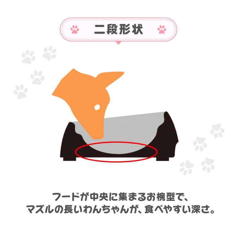 柴犬用食器 食べやすいワン ホワイト(89944) ズレにくい、こぼれにくい、ひっくり返しにくい!