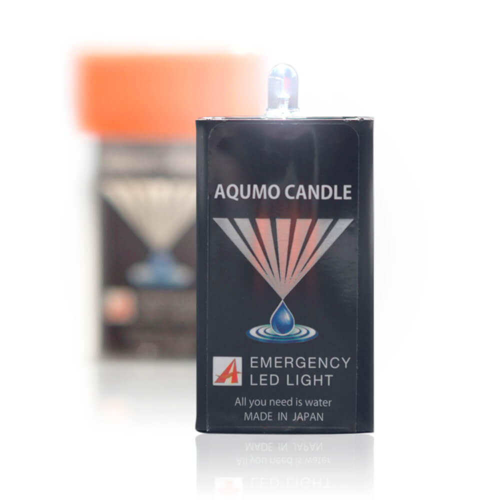 アクモホールディングス AQUMO CANDLE アクモキャンドル 水で光るLEDライト 黒/オレンジ W35mm x H65mm x D16mm 22g 1個 AQB-4I-1W…