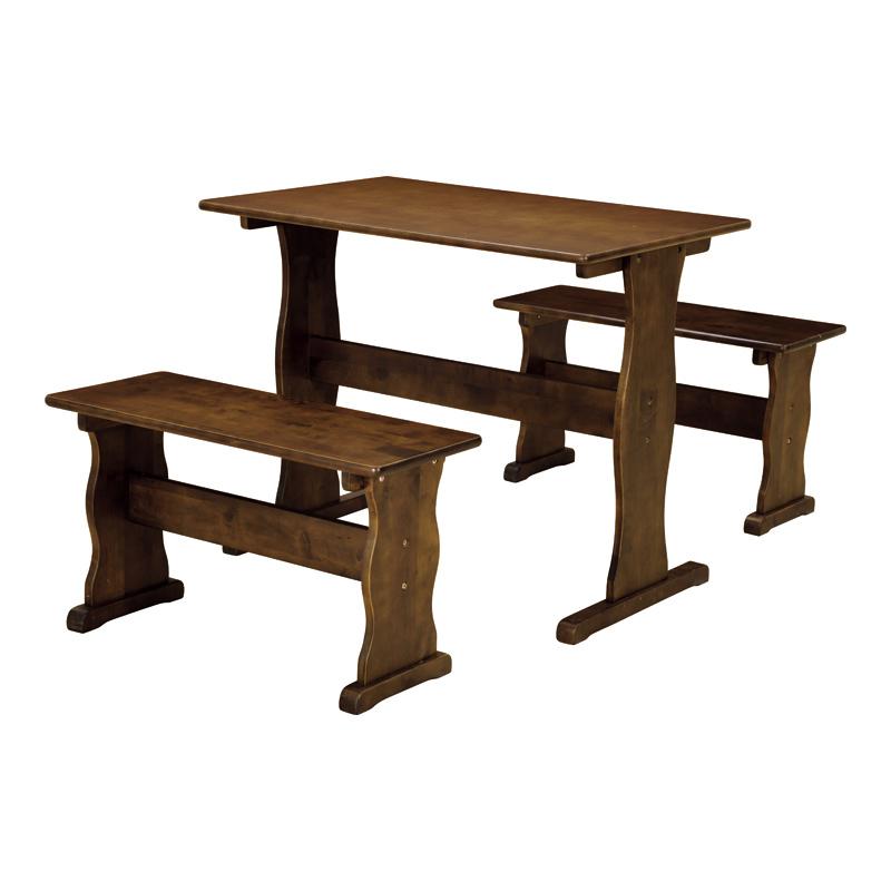 【幅90】2人用 コンパクトなテーブル&ベンチ3点セット ピサ ブラウン