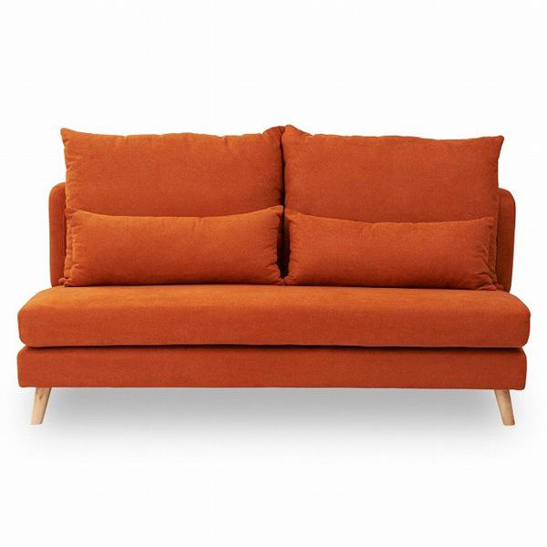 【3人掛け】あぐらがかけるファブリックソファ タピオカ (W168×D96×H95cm) オレンジ