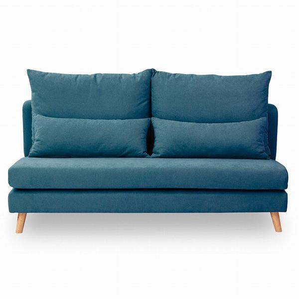 【幅168】3人掛け あぐらがかけるファブリックソファ タピオカ ブルー