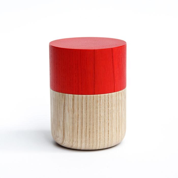 Sojitutu S 赤 茶筒小 栓(縦木取り)ウレタン塗装φ62×h68