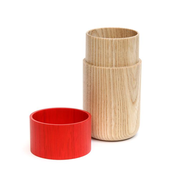 Sojitutu M 赤 茶筒中 栓(縦木取り)ウレタン塗装φ62×h105