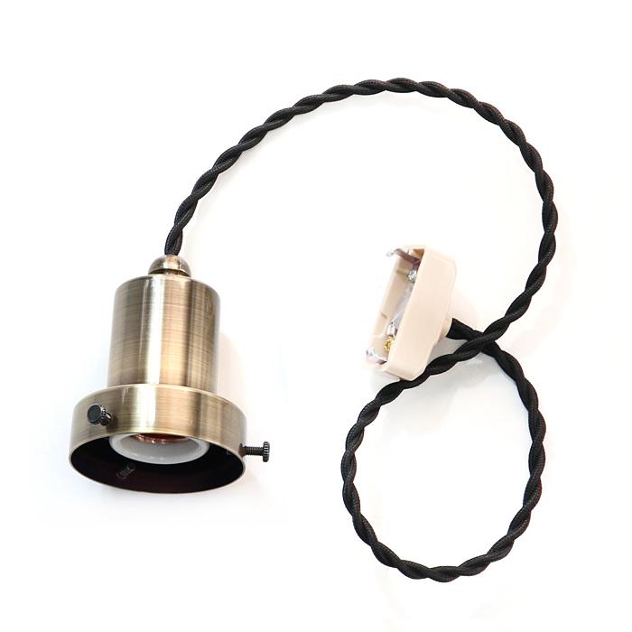 GLF x surou 後藤照明バイスロウ<br />ネジリコードアルミP1L CP型アンティークランプ球60W55cmコード<br />墨黒xブロンズ