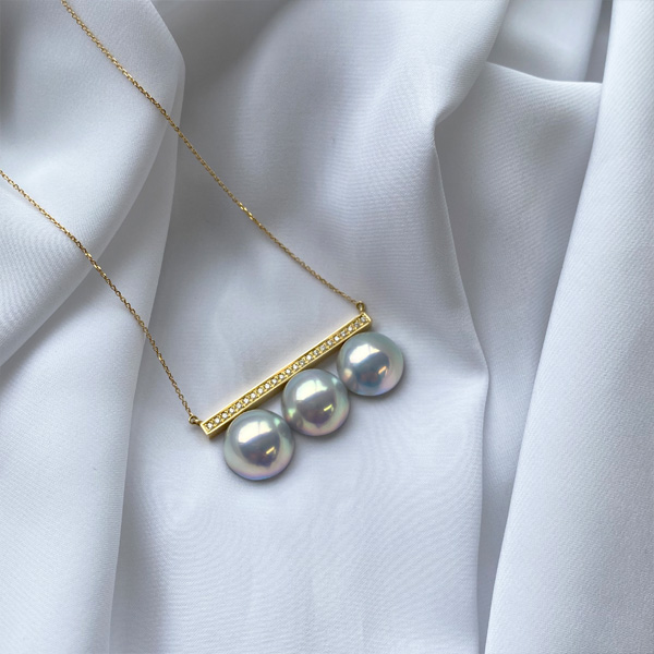 K18YG マベパール ダイヤモンドバー ネックレス
