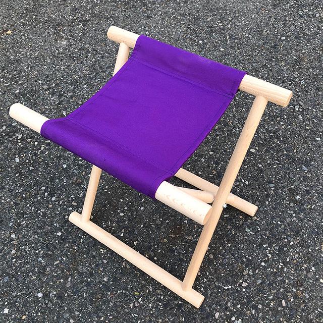 【 胡床 】 丸足胡床白木紫布 高さ44�