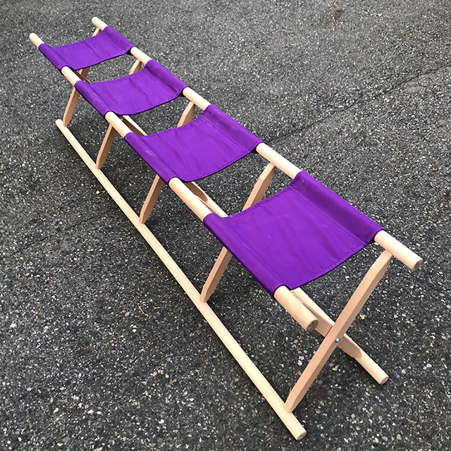 【 胡床 】 4人掛足胡床白木紫布 高さ43�