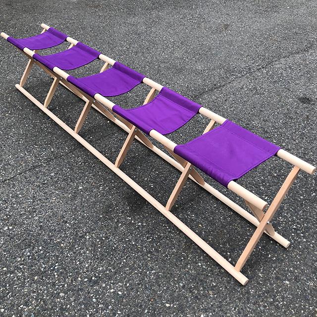 【 胡床 】 5人掛足胡床白木紫布