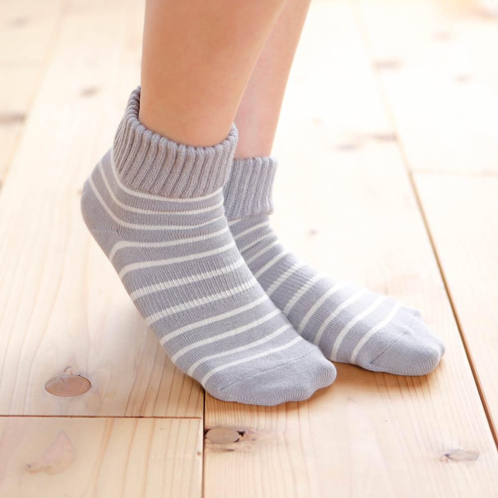 【かかとケア靴下】歩くぬか袋 ゆったりボーダー