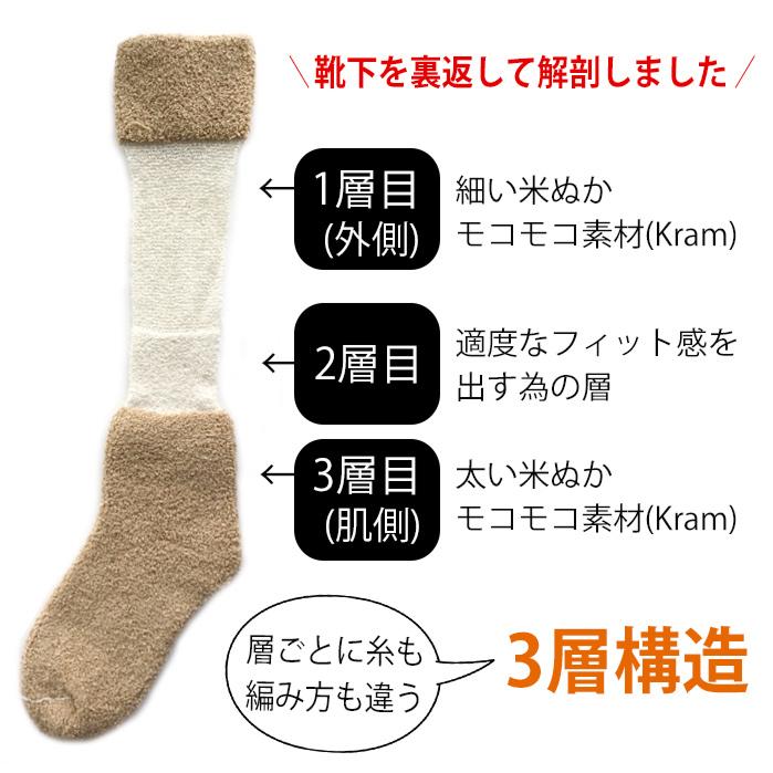 米ぬかあったか3層靴下