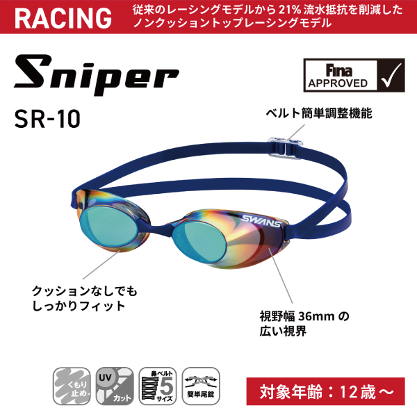 SR-10N SKBL レーシングノンクッション スイミングゴーグル