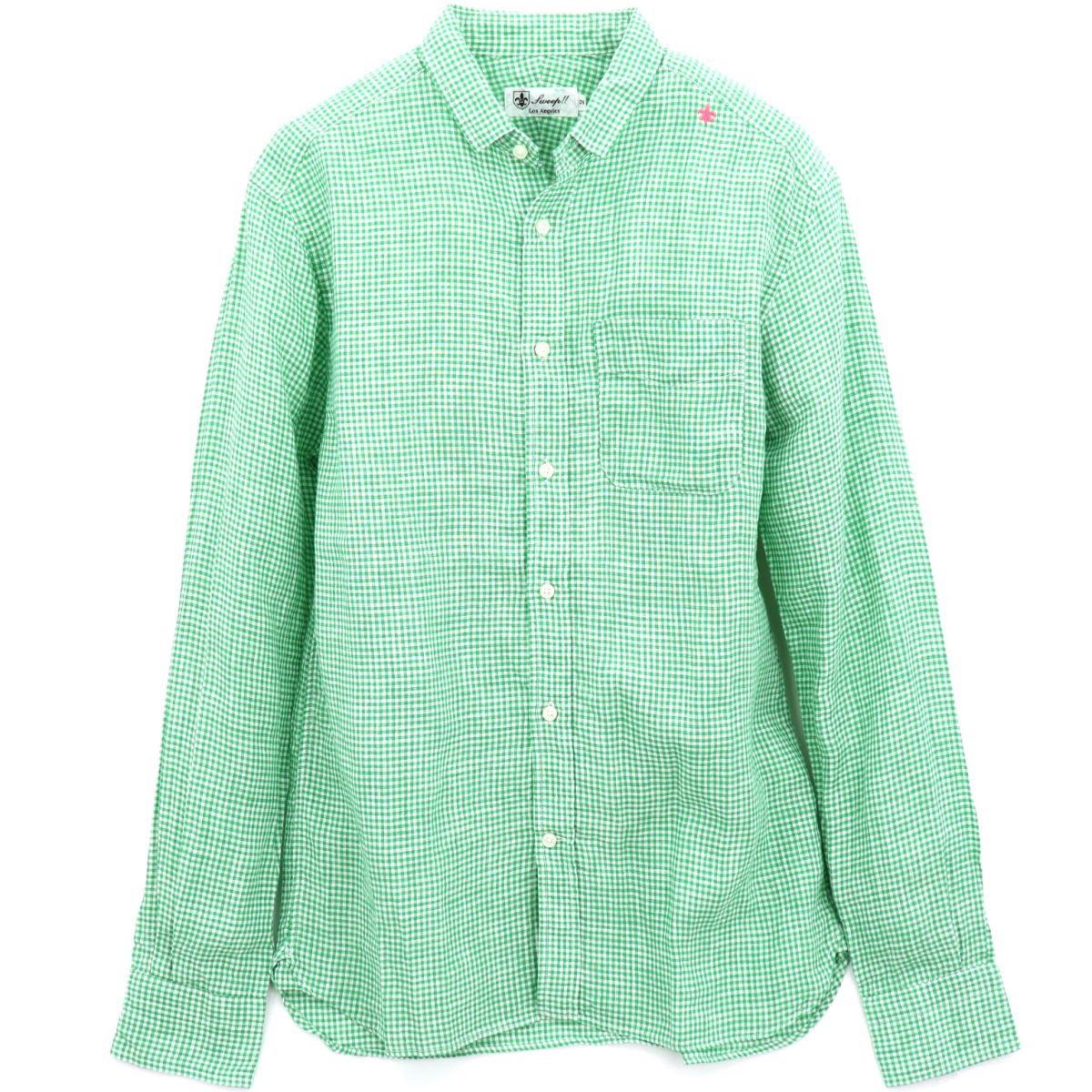 リネン ギンガムチェック ちびえりシャツ(GREEN)