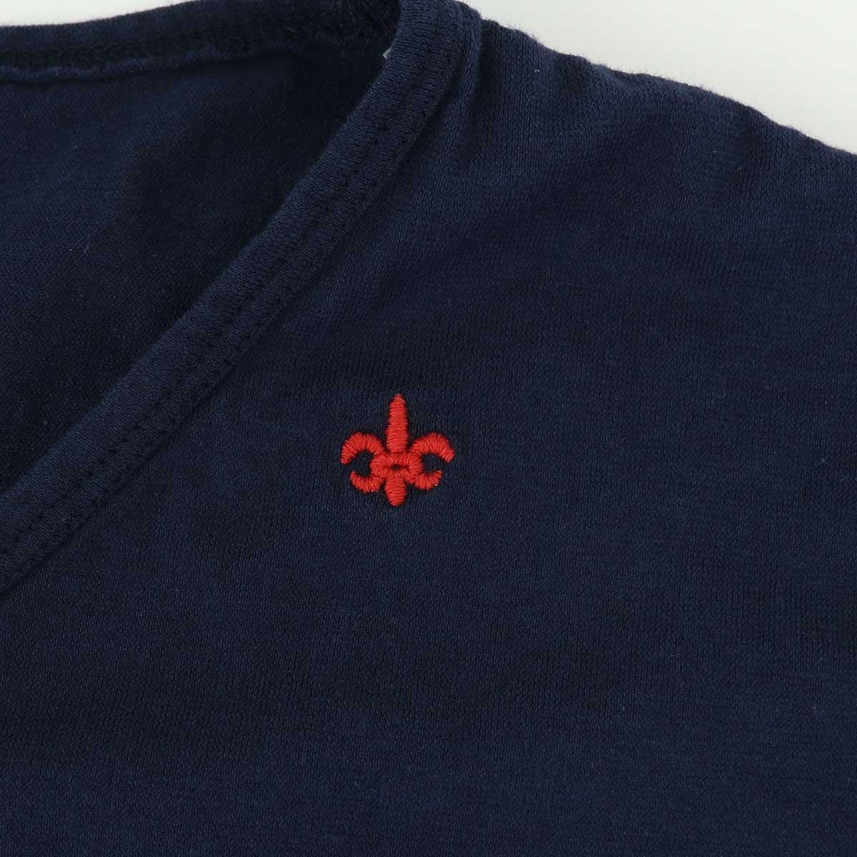 VネックTシャツ 刺繍配色(NAVY)