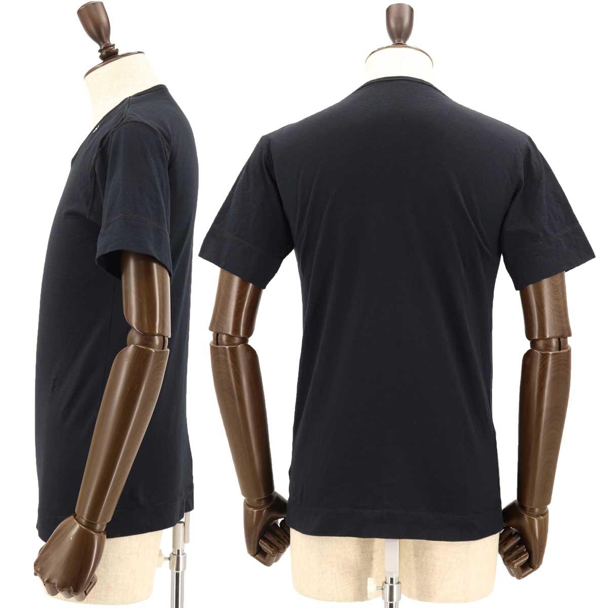 VネックTシャツ 刺繍配色(BLACK)