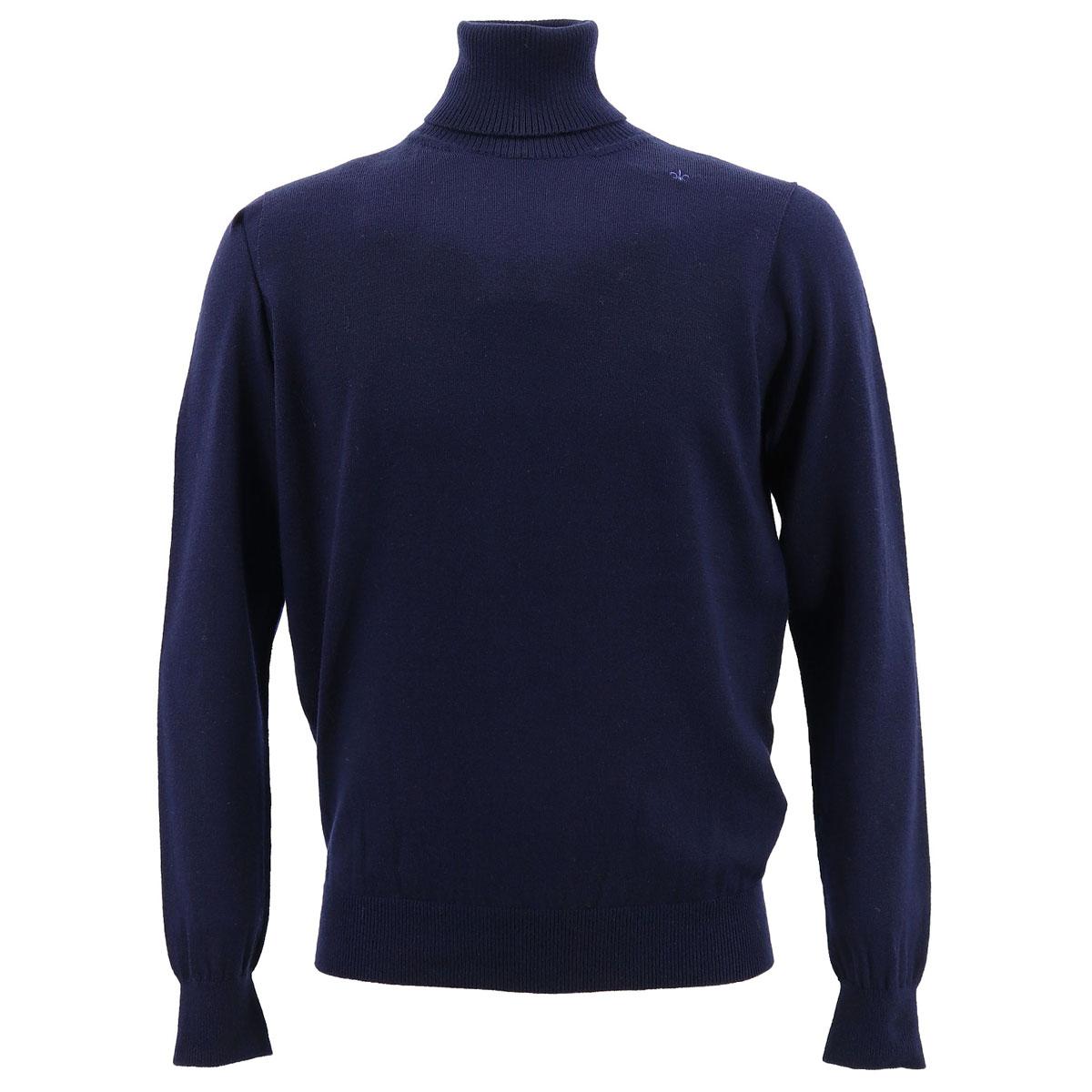 ウール 12G タートルネックセーター SL190001 NAVY(ネイビー)