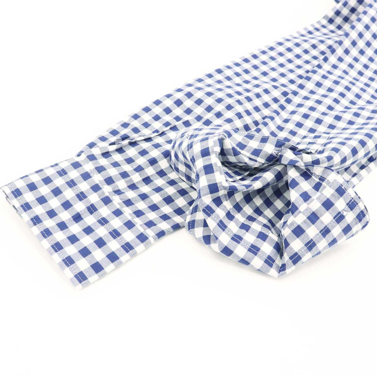ギンガムチェック ホリゾンタルカラーシャツ 長袖(BLUE)