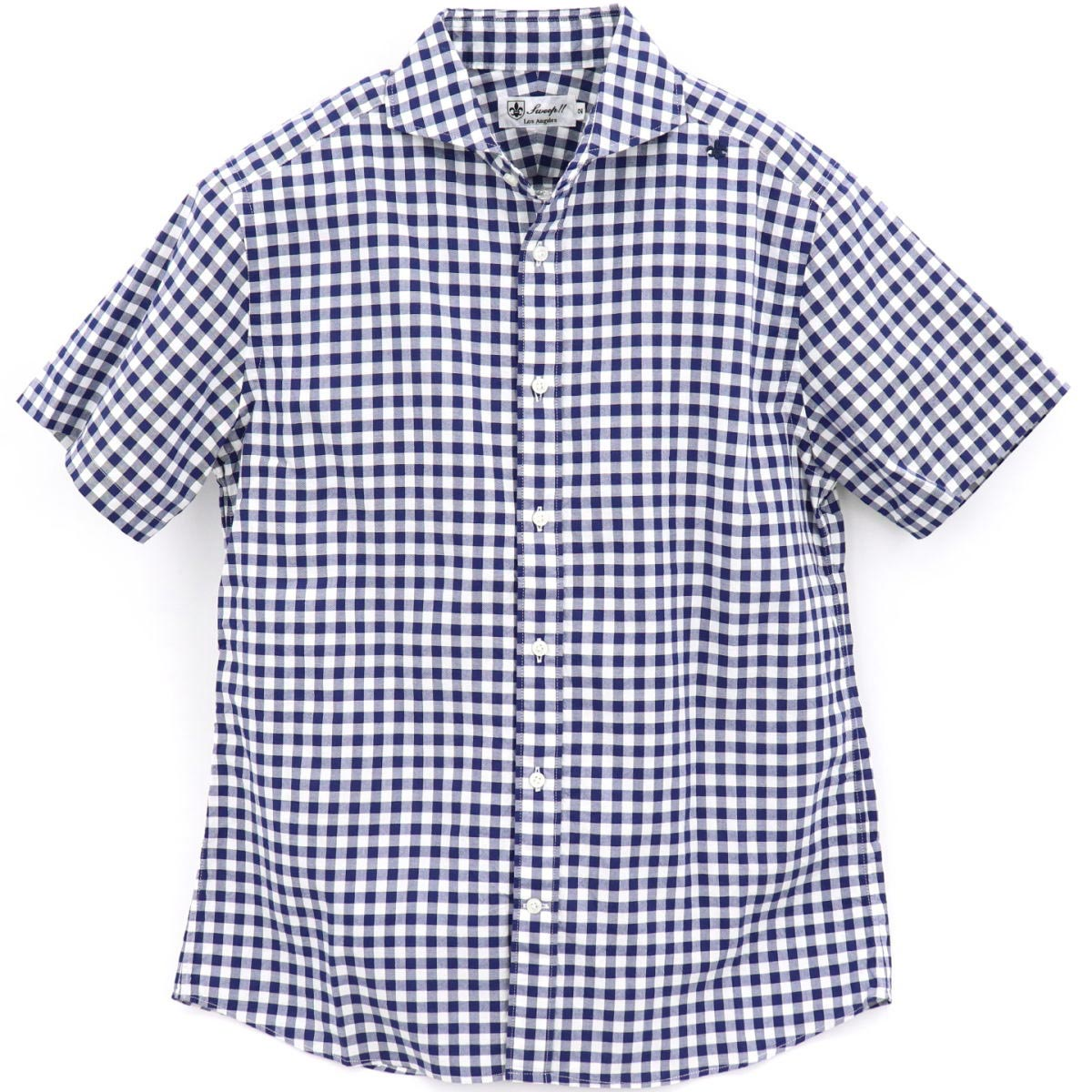 ギンガムチェック ホリゾンタルカラーシャツ 半袖(BLUE)