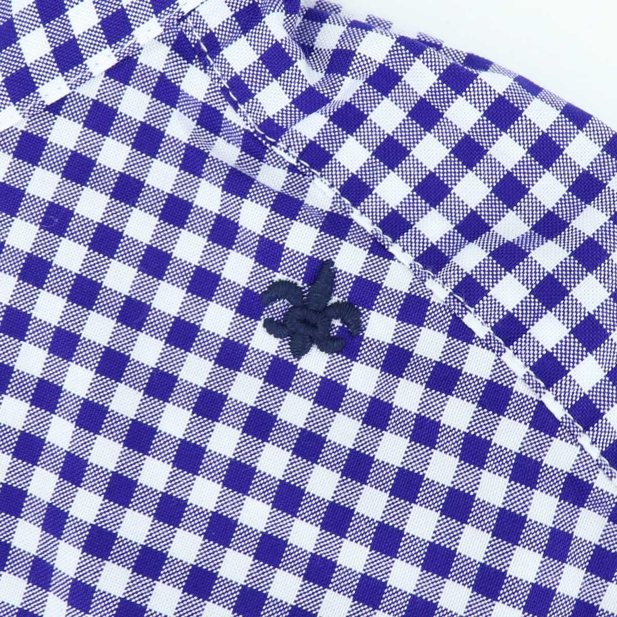 ピンオックスフォード ギンガムチェック ボタンダウンシャツ(BLUE)