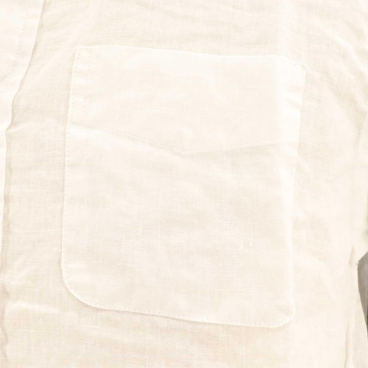 フレンチリネン ボタンダウンシャツ(WHITE)