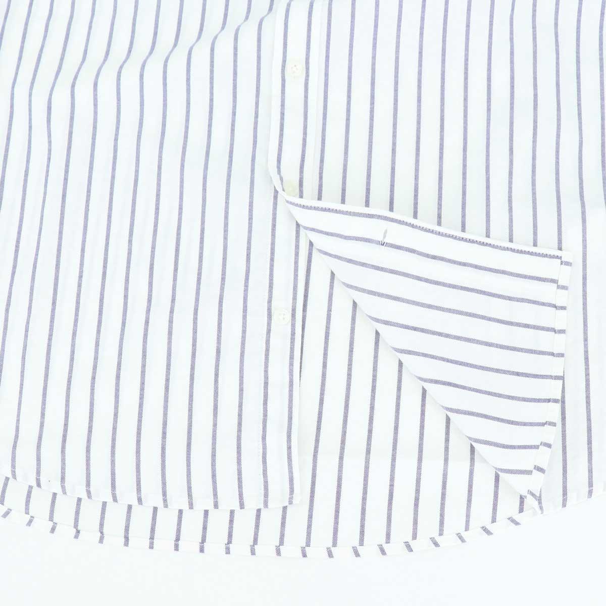 ピンオックスフォード ストライプ ホリゾンタルカラーシャツ(BLUE)