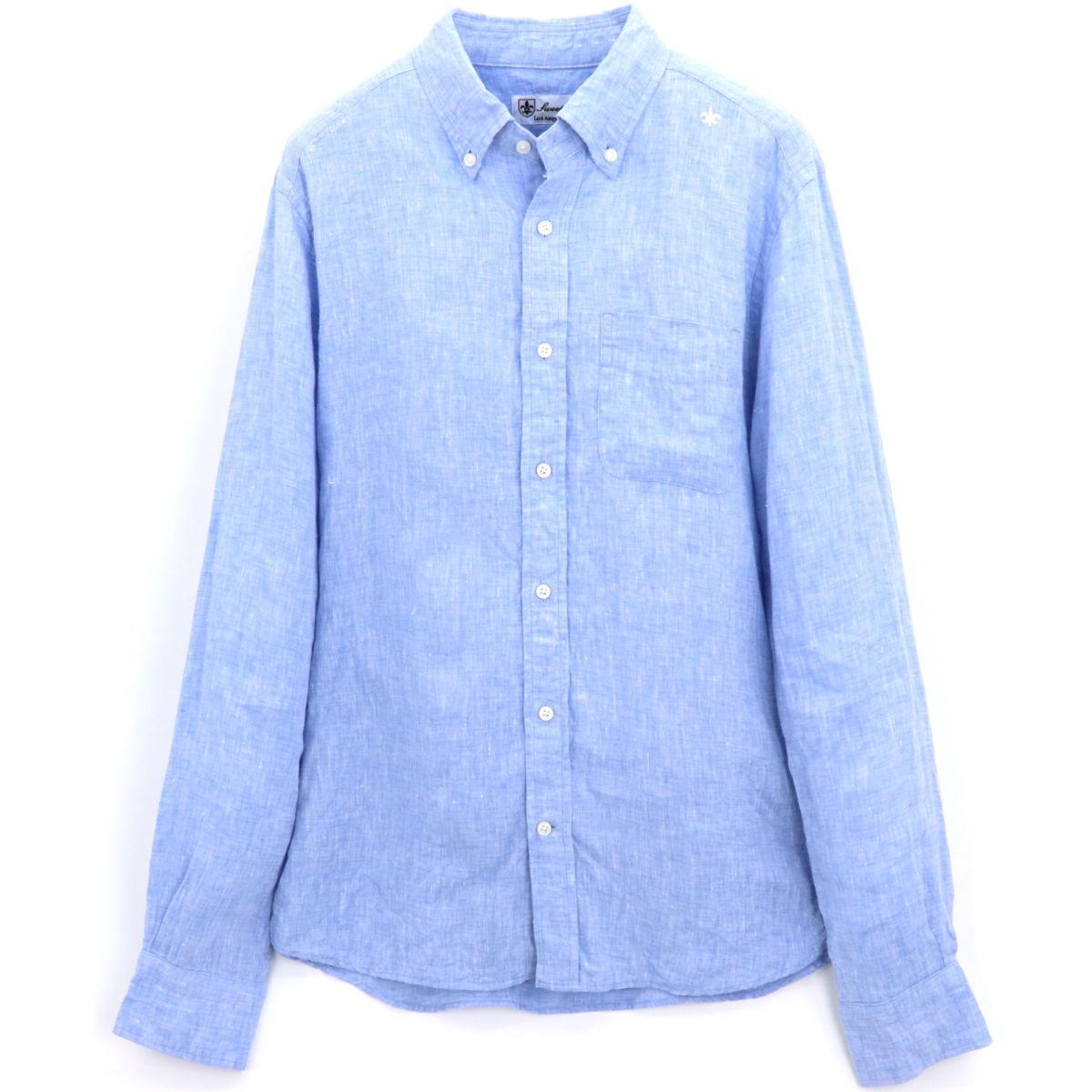 フレンチリネン ボタンダウンシャツ(LIGHTBLUE)