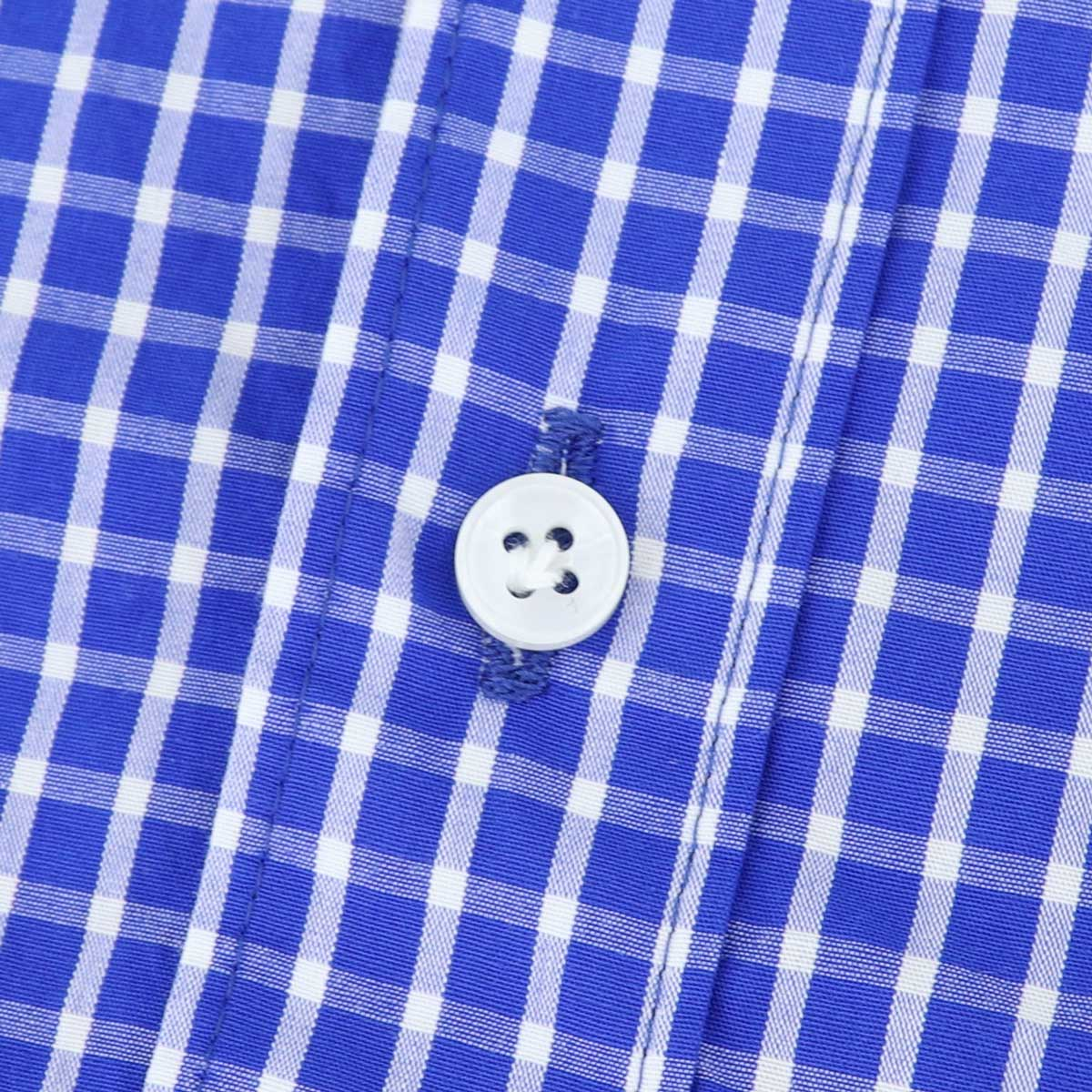 ブロード ウィンドウペンチェック ホリゾンタルカラーシャツ (BLUE)