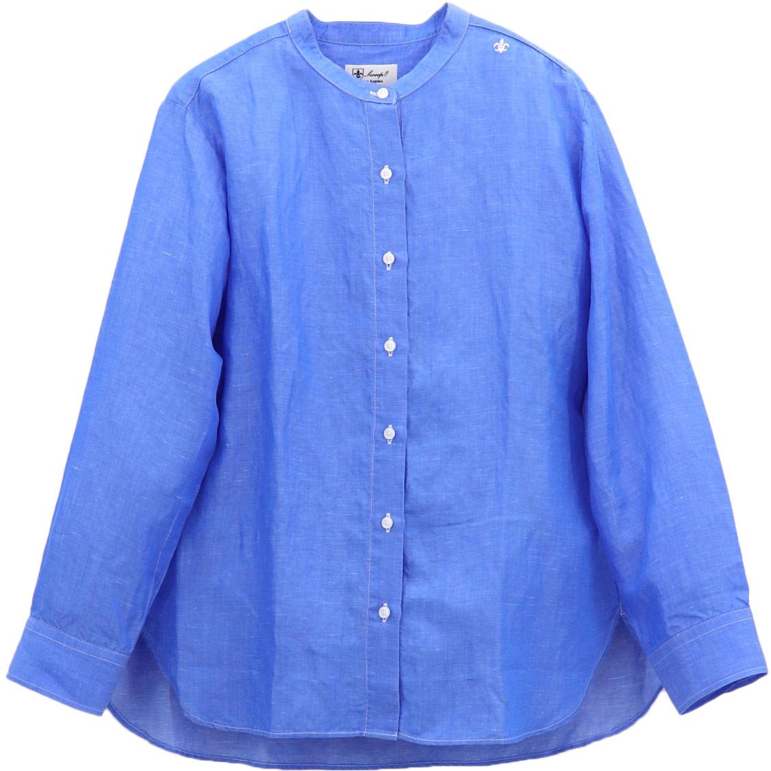 リネン混 スタンドカラーシャツ SL030001 BLUE (ブルー)